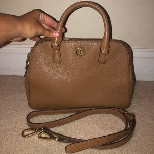 Tory Burch Robinson zipped pebble leather satchel